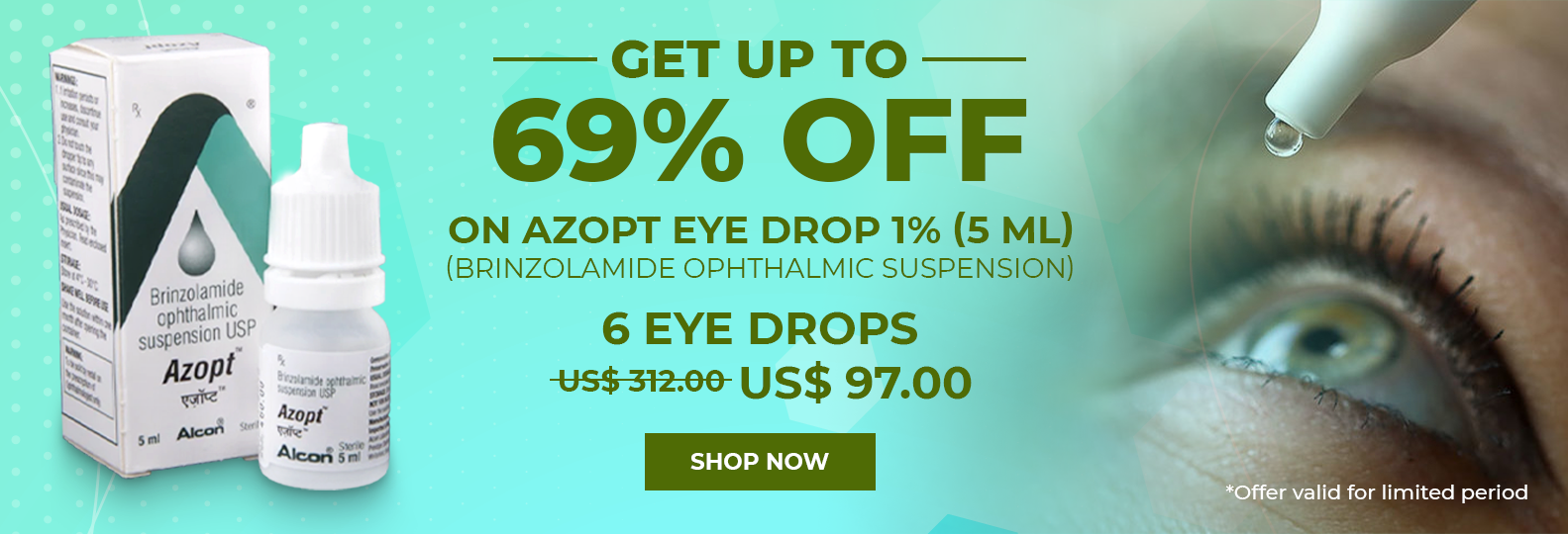 GET upto 69% off on Azopt Eye Drop